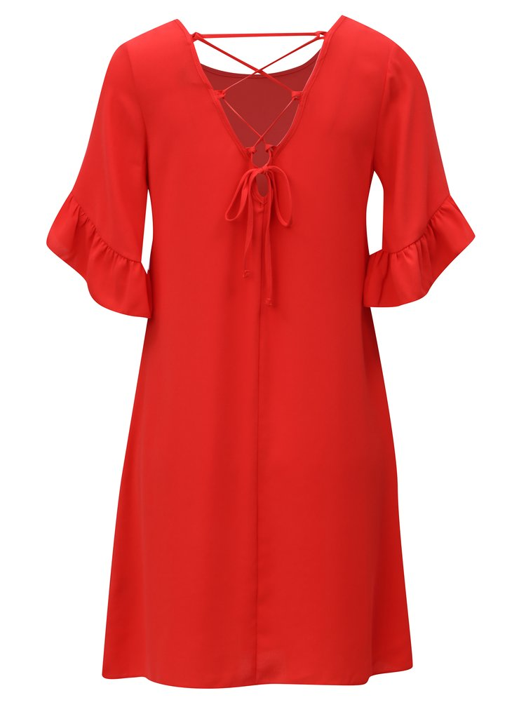 Červené šaty s volánovými rukávy Dorothy Perkins