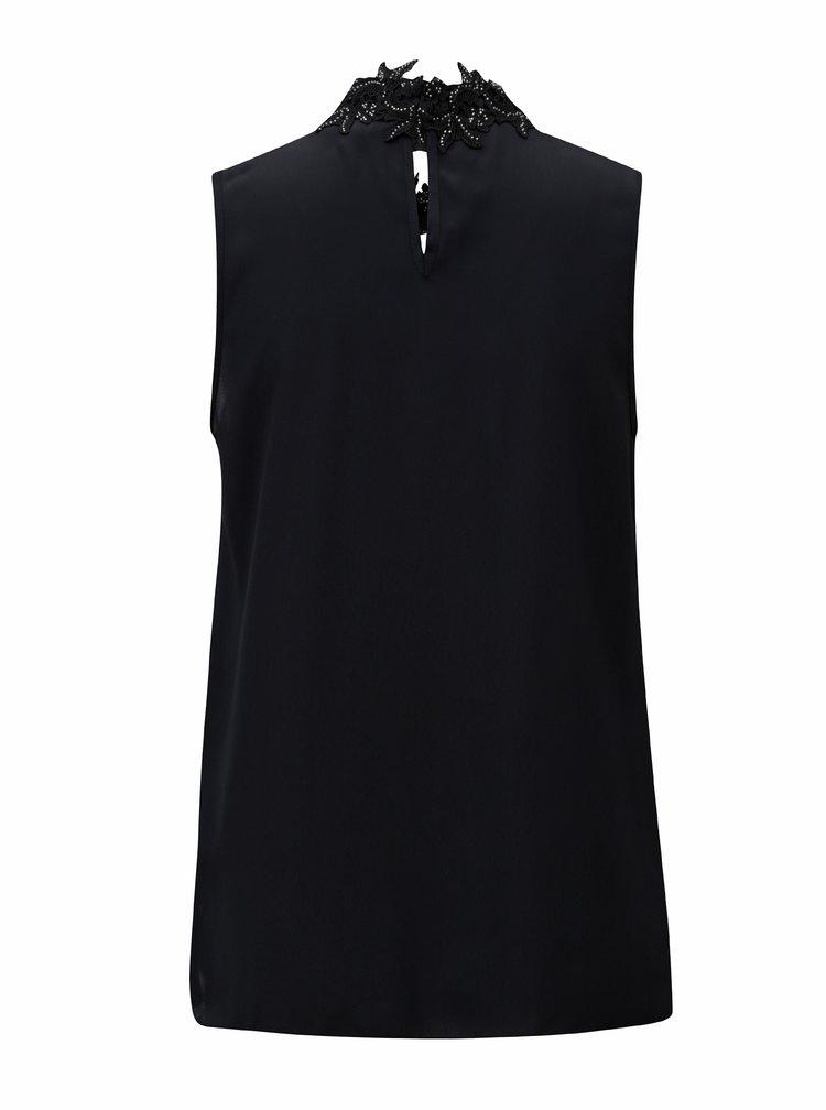 Černá halenka bez rukávů s krajkovým límečkem Dorothy Perkins