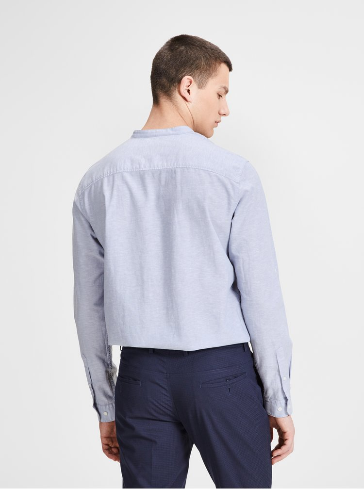 Světle modrá žíhaná slim fit košile s příměsí lnu Jack & Jones Premium Summer