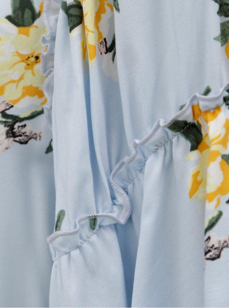 Světle modrá květovaná halenka s krátkým rukávem Dorothy Perkins