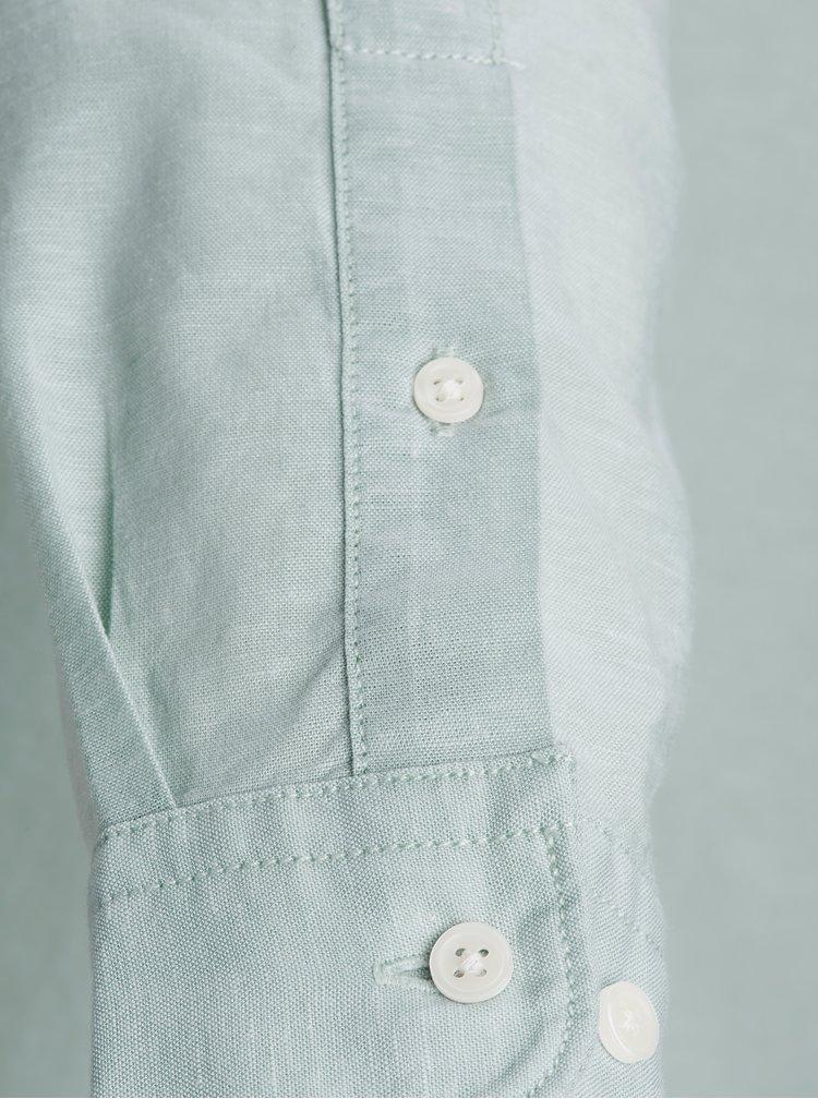 Světle zelená žíhaná slim fit košile s příměsí lnu Jack & Jones Premium Summer