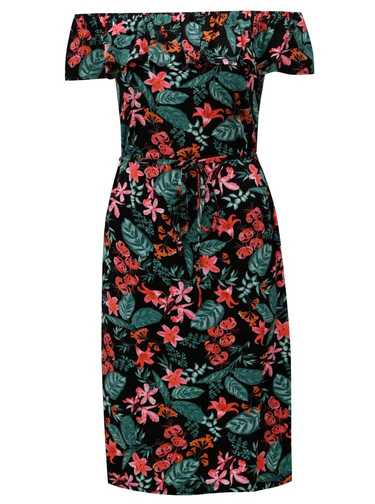Černé květované šaty s volánem a odhaleným rameny M&Co