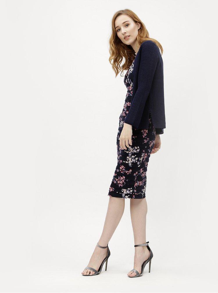 Rochie teaca albastru inchis cu model floral M&Co