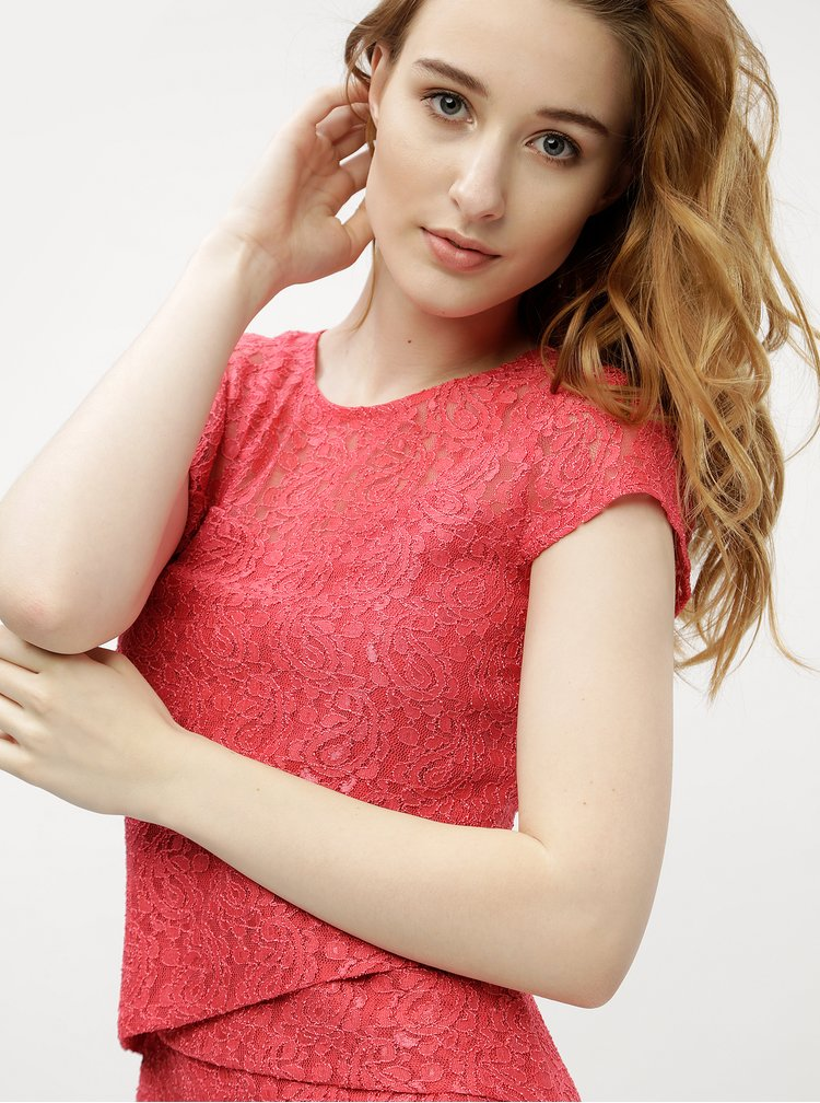 Korálové krajkové pouzdrové šaty M&Co