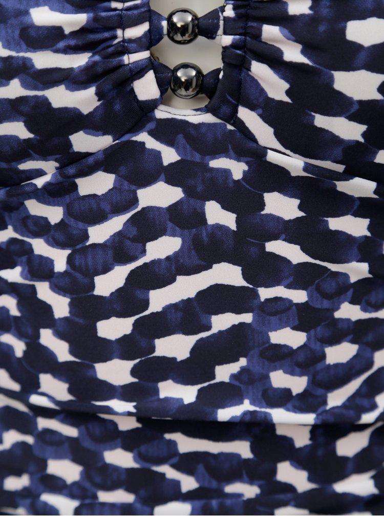 Tmavě modré dámské vzorované jednodílné plavky M&Co