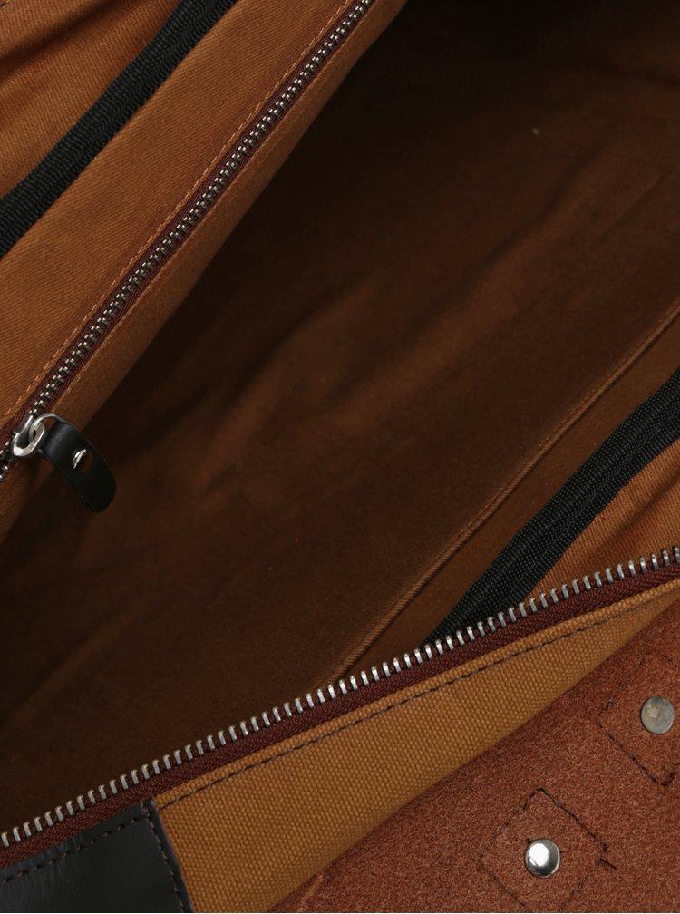 Hořčicový kožený batoh/taška s koženými detaily Enter Brief 12 l