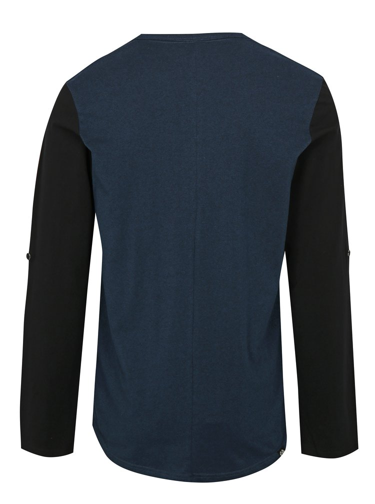Tmavomodré pánske tričko s dlhým rukávom Ragwear Tibor