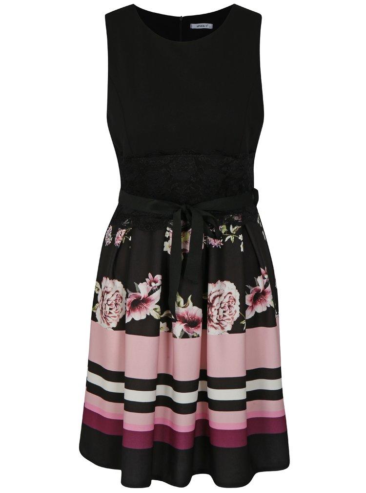 Černé květované šaty s krajkou Haily´s Julia