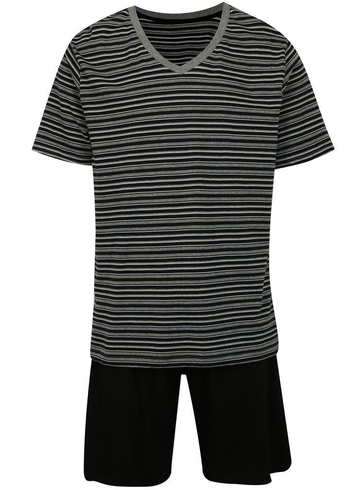 Šedo-černé pruhované pánské pyžamo M&Co