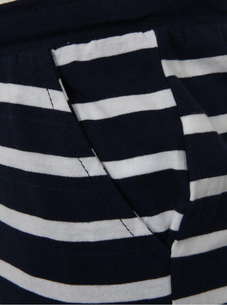 Bílo-modré klučičí pruhované lehké kraťasy s potiskem Mix´n Match
