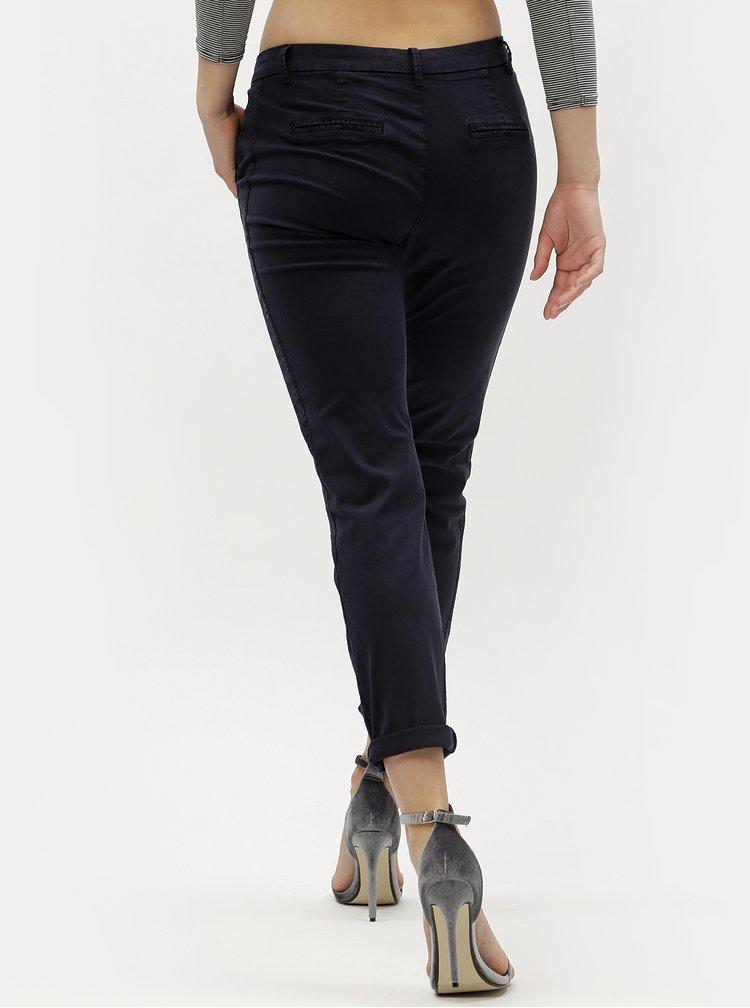 Tmavě modré chino kalhoty s nízkým pasem VERO MODA Flame