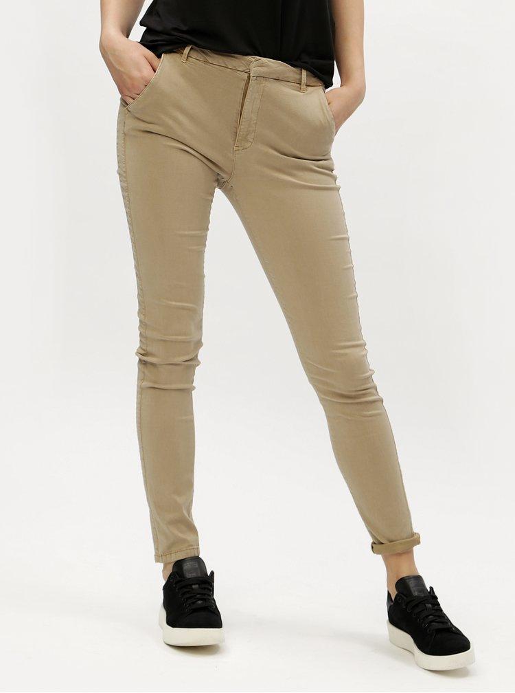 Béžové chino kalhoty s nízkým pasem VERO MODA Flame