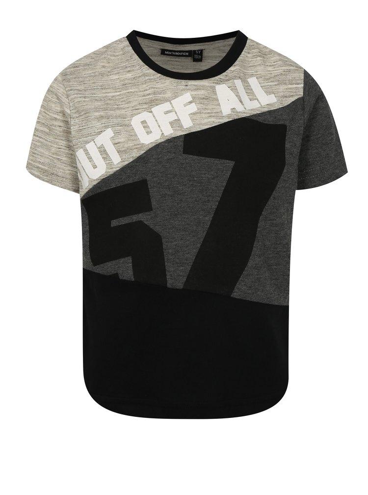 Černo-šedé klučičí žíhané tričko s potiskem Mix´n Match