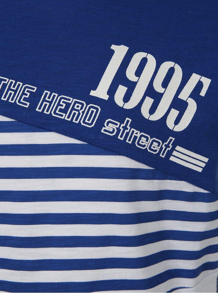 Bílo-modré klučičí pruhované tričko s potiskem Mix´n Match
