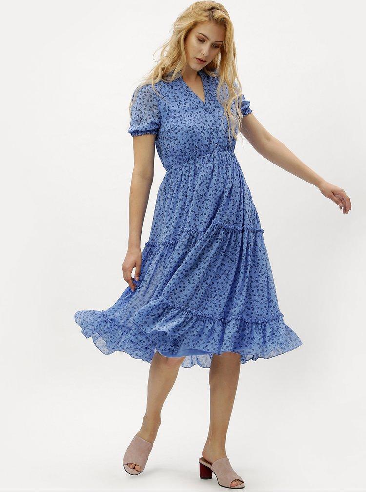 Modré květované šaty s véčkovým výstřihem VERO MODA Eve