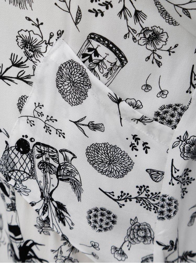 Černo-bílé vzorované košilové šaty SKFK Lakanda