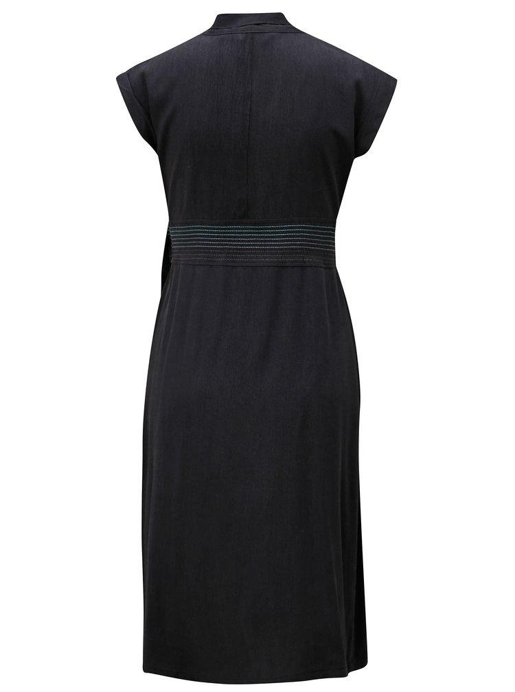 Tmavě šedé šaty s překládaným výstřihem SKFK Nuria