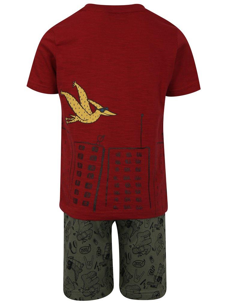 Khaki-červený klučičí vzorovaný set s kraťasy a tričkem Mix´n Match