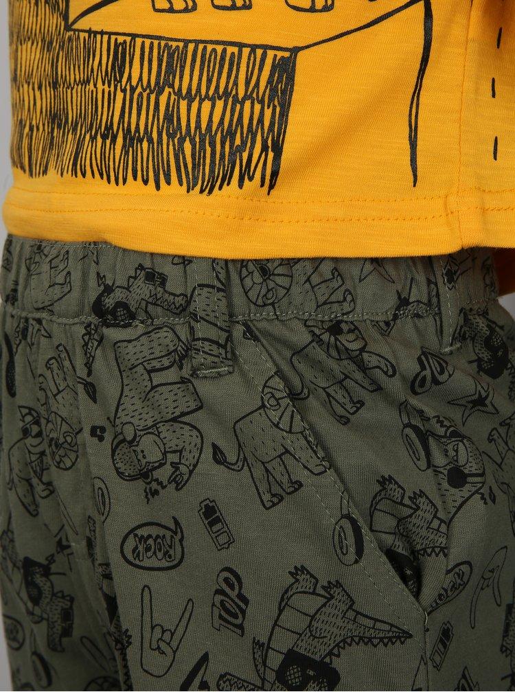 Khaki-žlutý klučičí vzorovaný set s kraťasy a tričkem Mix´n Match