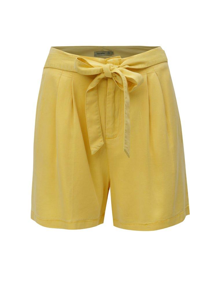 Žluté kraťasy s vysokým pasem VERO MODA Mia