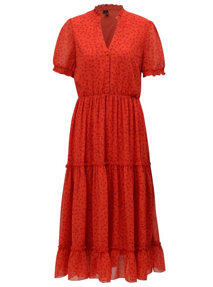 Červené květované šaty s véčkovým výstřihem VERO MODA Eve