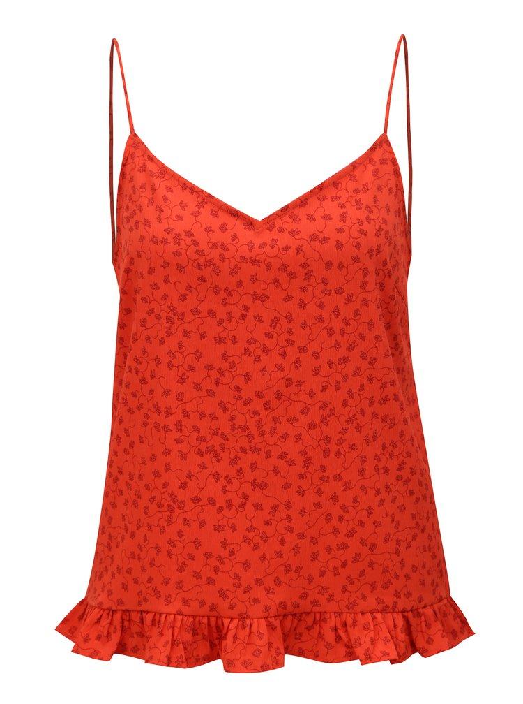 Červený květovaný top s volánem VERO MODA Eve