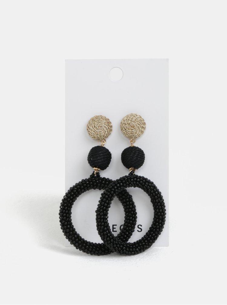 Černé korálkové náušnice Pieces Marcia