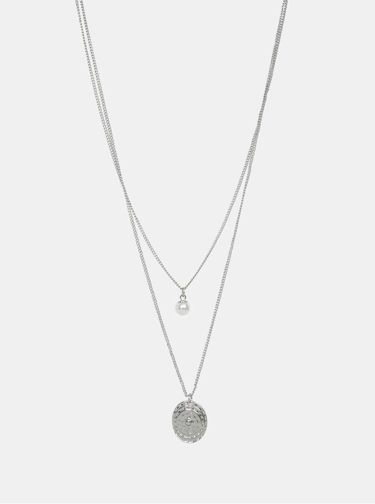 Náhrdelník s přívěskem ve stříbrné barvě Pieces Magnid
