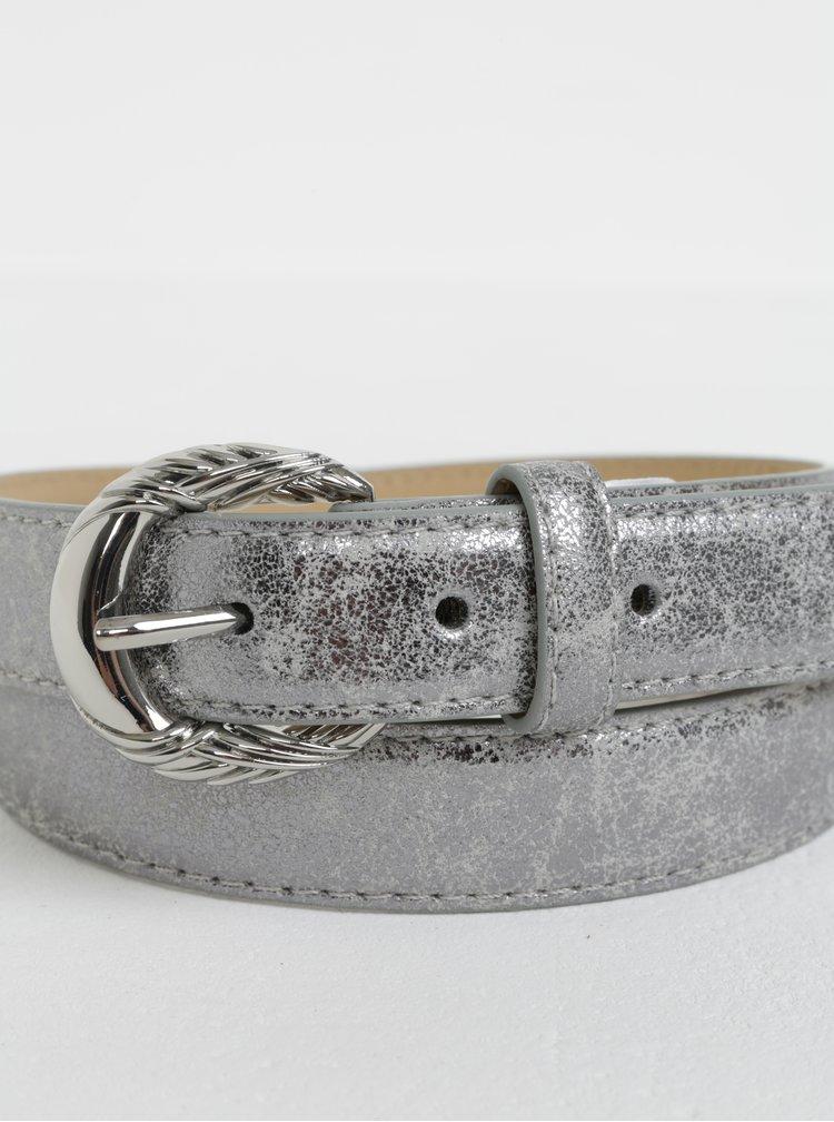Koženkový pásek ve stříbrné barvě Pieces Mae