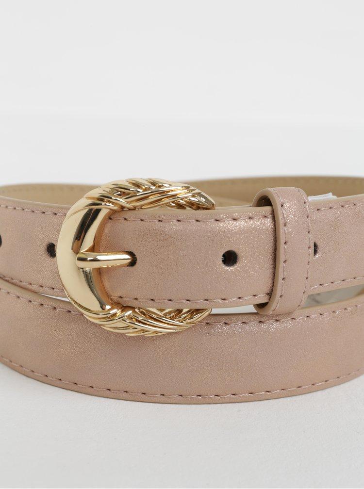 Růžový koženkový pásek s metalickými odlesky Pieces Mae