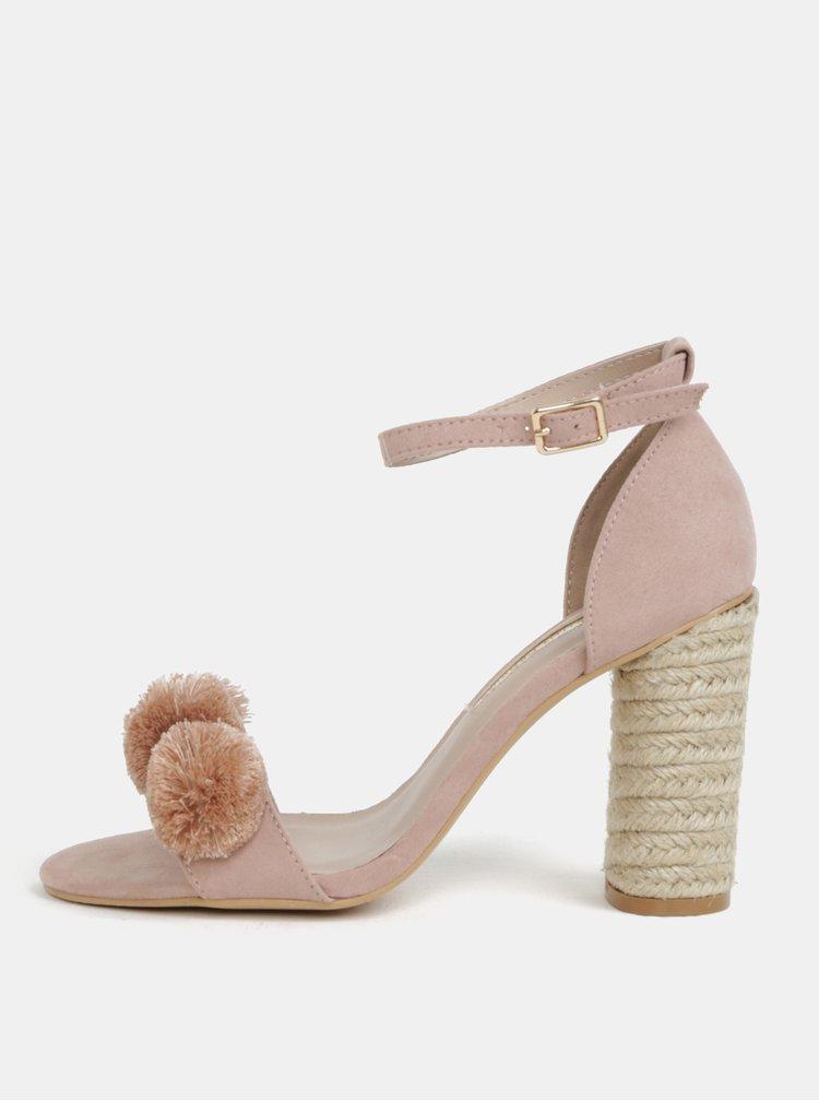 Starorůžové sandálky na podpatku Dorothy Perkins