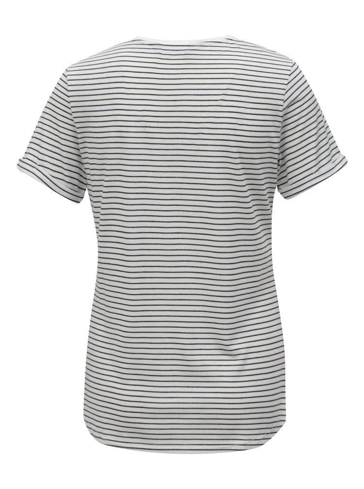 Biele pruhované tričko s krátkym rukávom Dorothy Perkins