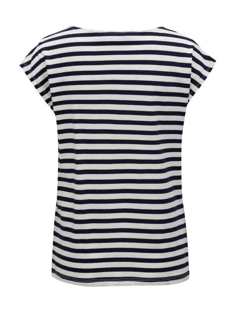 Modro-bílé pruhované tričko s krajkou Dorothy Perkins