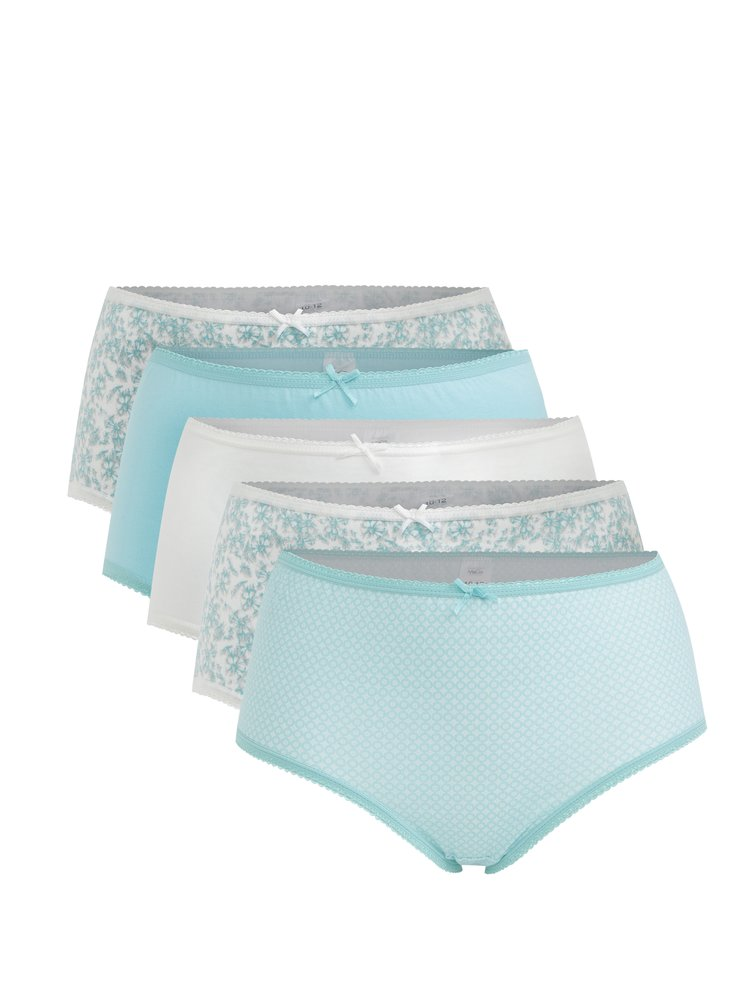Súprava piatich vzorovaných nohavičiek v krémovo-mentolovej farbe M&Co