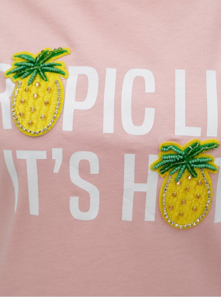 Světle růžové tričko s nášivkami Dorothy Perkins