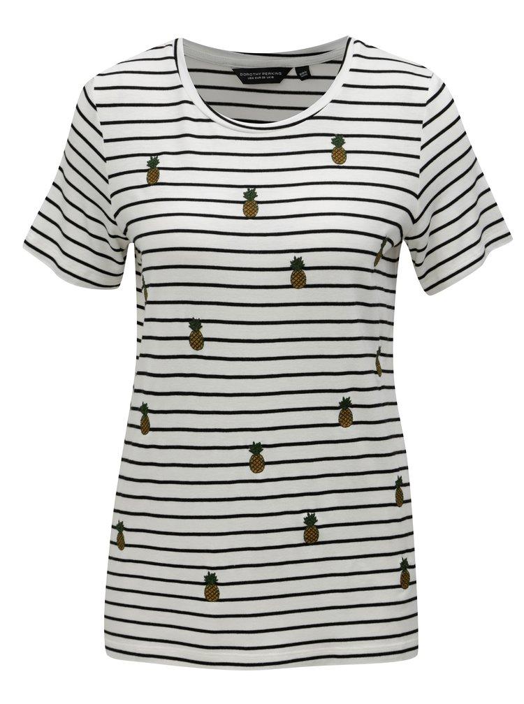 Bílé pruhované tričko s výšivkami Dorothy Perkins