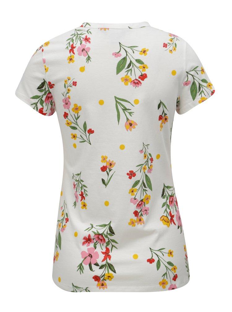 Krémové květované tričko Dorothy Perkins