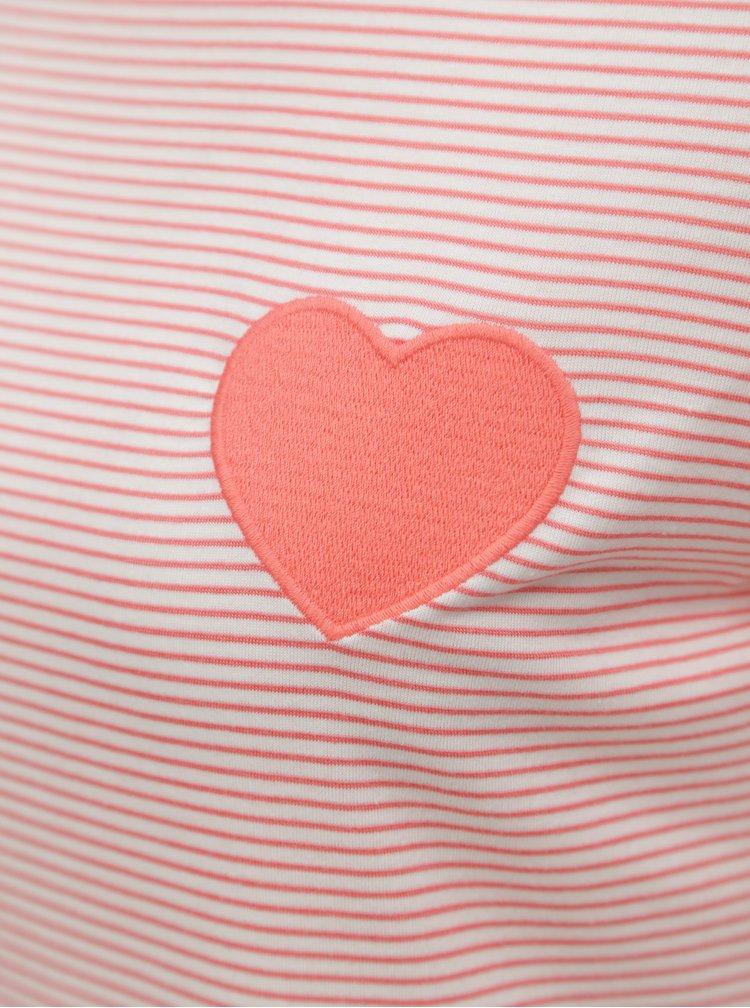 Tricou roz piersica in dungi cu broderie Dorothy Perkins