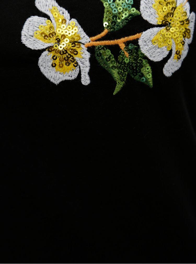 Černé tílko s květinovou výšivkou a flitry Dorothy Perkins