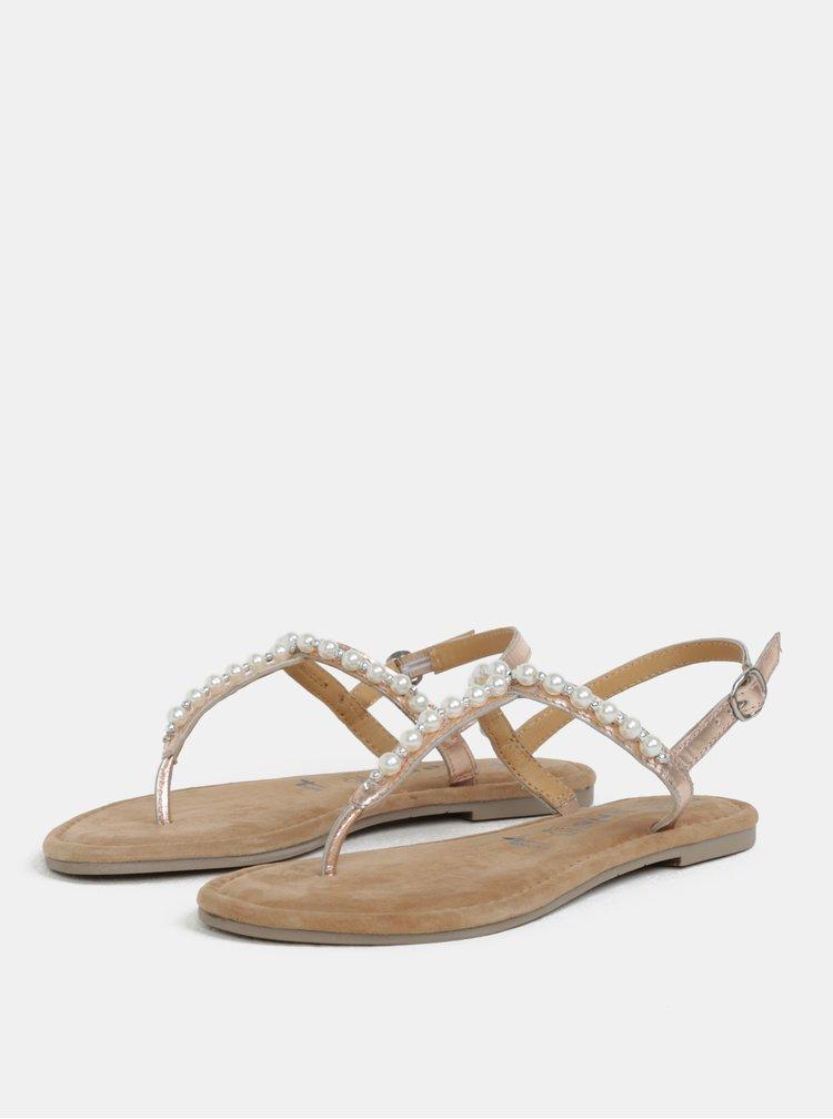Světle růžové metalické kožené sandály Tamaris