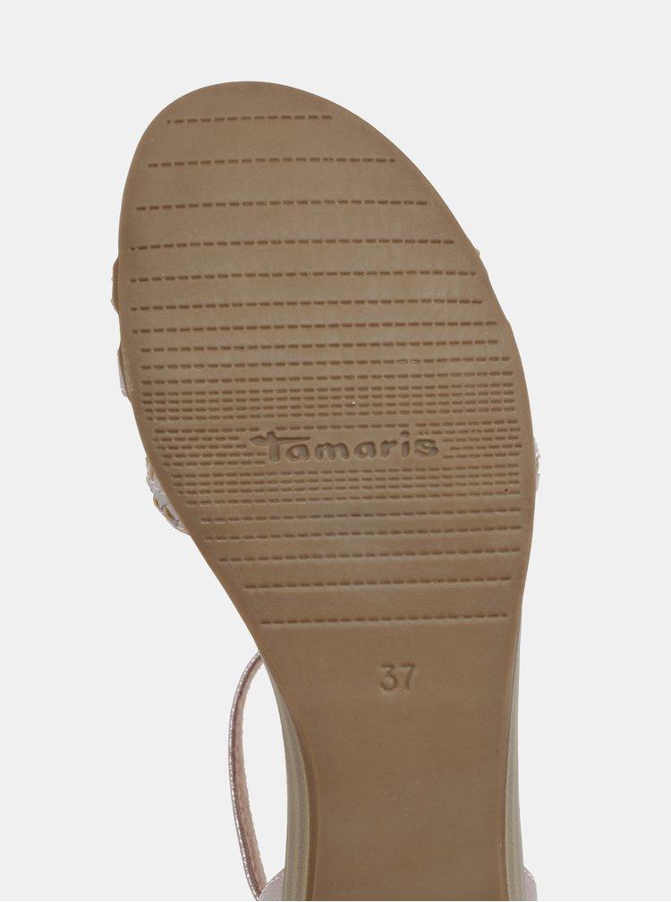 Světle růžové kožené sandály Tamaris