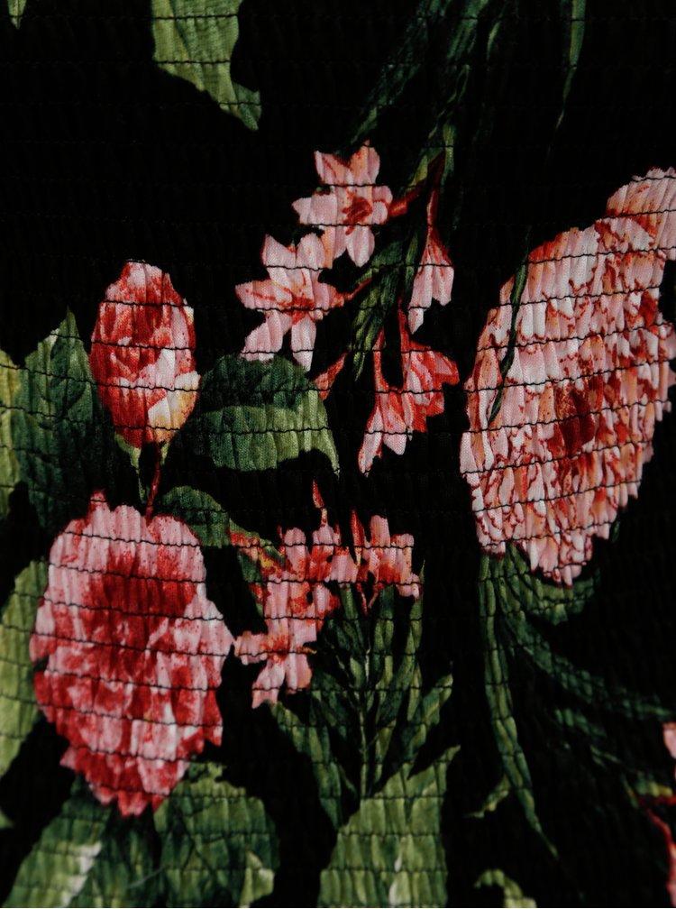 Černé květované pružné tričko Dorothy Perkins