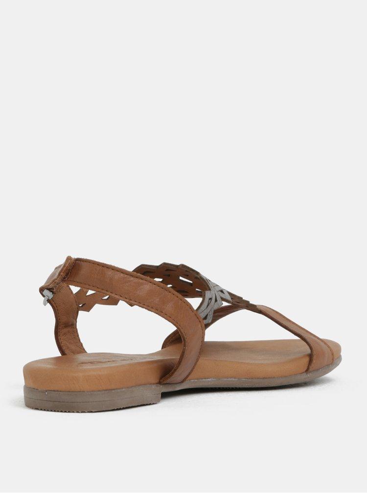 Hnědé kožené sandály se zdobením Tamaris