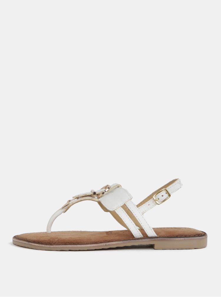 Bílé kožené sandály s přezkou Tamaris