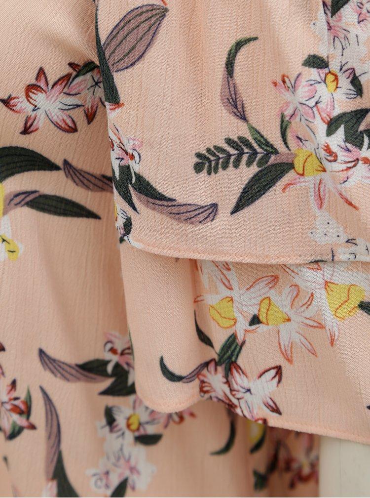 Top roz piersica cu model floral si decupaje pe umeri Dorothy Perkins