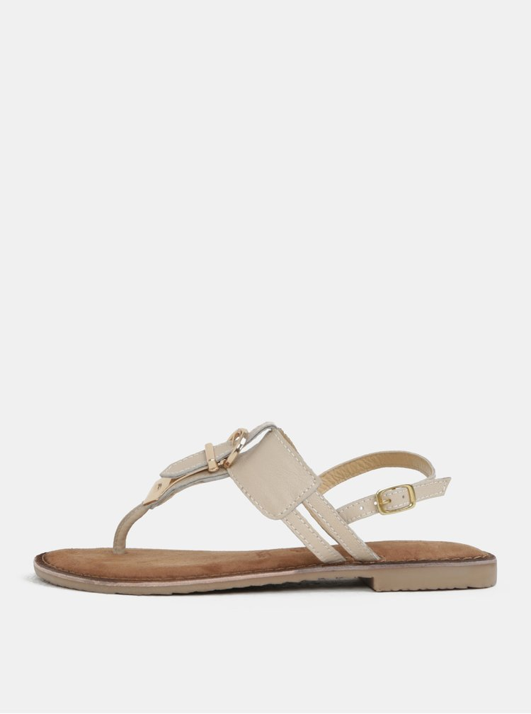 Krémové kožené růžové sandály s přezkou Tamaris