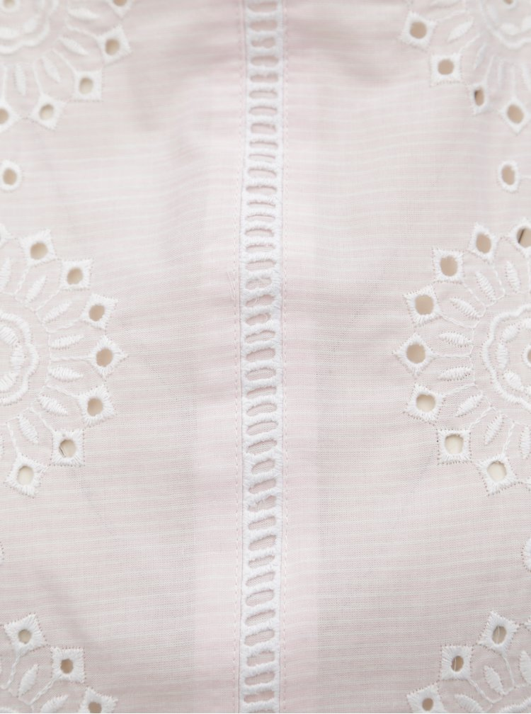 Světle růžová pruhovaná halenka s madeirou Dorothy Perkins