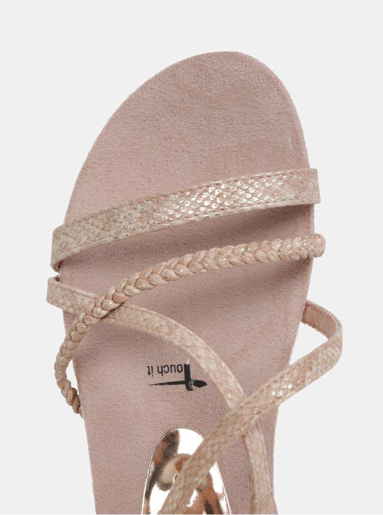 Světle růžové sandály s hadím vzorem Tamaris