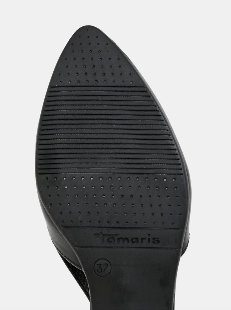 Černé kožené sandálky s plnou špicí Tamaris