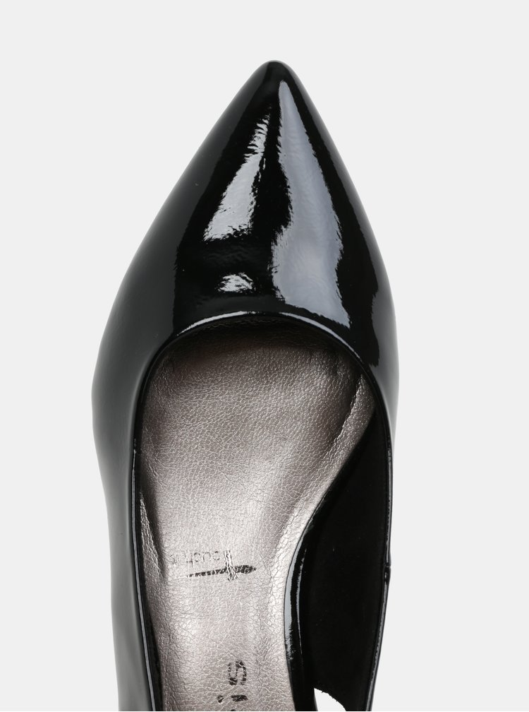 Černé lesklé sandály s plnou špicí Tamaris